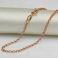 Pure Au750 18K Rose Gold Women's Cable Chain Necklace 19.6inch