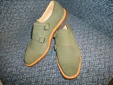 MEN'S SIZE 7.5 GREEN SUEDE LEATHER MONK SHOES