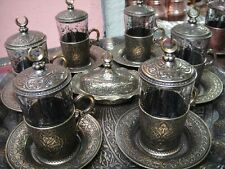 Authentic Turkish Tea Water Coffee Set 6 Cup Glass Saucer Cover Ottoman Gold