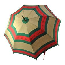 Authentic GUCCI Logos Umbrella Parasol Green Red Cotton Vintage T02126
