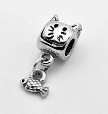 LOOK Cat dangle fish  Charm European bead for jewelry Genuine Sterling Silver 92