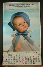 Large 1957 January February Salesman Sample Calendar Lil Girl Bonnet Funny Face