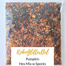 Black Holographic Glitter Mix Hex Pumpkin | 1 TSP | Acrylic Gel Nail Art Design