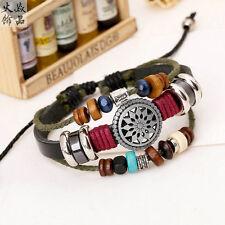 Gothic Black Leather Adjustable Faith Bracelet Handmade Jewelry Cuff Women/Men's