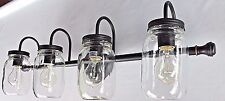 4 light clear glass mason jar lighting Dark Bronze vanity bathroom wall