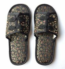 Traditional Black Chinese Style Silk Brocade Slippers UK 5-6