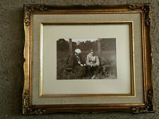 Vintage 20s Awkward Teens at baseball field on a date photograph,framed matted