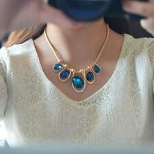 Newest Fashion Women Crystal Pendant Chain Choker Chunky Statement Bib Necklace