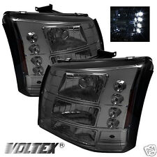 2003-2007 CHEVY SILVERADO 1500HD 2500HD LED CRYSTAL HEADLIGHTS LIGHTBAR SMOKE