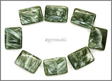 8 Seraphinite Flat Rectangle Beads 15x20mm Grade A #86066