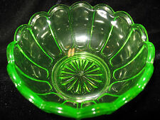 Green Vaseline glass pattern candy jam soap dish master salt bowl uranium yellow