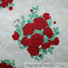 BonEful Fabric FQ Cotton Quilt VTG Cream Red ROSE Victorian FLOWER Toile Cottage