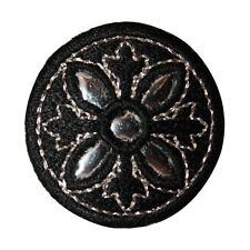 ID 8801 Black Reflective Round Circle Shield Embroidered Iron On Applique Patch