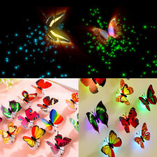 Colorful Changing Butterfly LED Night Light Lamp Party Desk Home Room Wall Decor