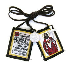 Scapular Sacred Heart Jesus Mt Carmel Brown Scapular 100% Wool & Medals Catholic