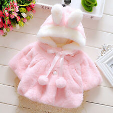 Baby Infant Girl Kid Fur Winter Warm Coat Cloak Thick Jacket Outerwear Snowsuit