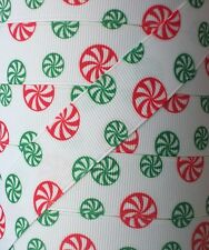 "5 yd 7.8"" CHRISTMAS RED GREEN PEPPERMINT ROSGRAIN RIBBON 4 HAIR BOWS HAIRBOWS"