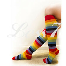 NEW RAINBOW MULTI COLOURED STRIPED OVER THE KNEE THIGH HIGH SOCKS
