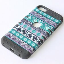 iPod Touch 5th & 6th Gen - HARD&SOFT RUBBER HIGH CASE GREY GREEN AZTEC FLOWERS