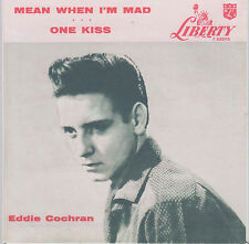 ROCKABILLY REPRO: EDDIE COCHRAN - Mean When I'm Mad/One Kiss LIBERTY - RED WAX