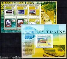 Train, Railways, Stamp on Stamp, Guinea MNH MS+SS Set
