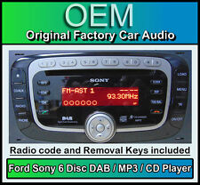 Ford Focus DAB radio with 6 Disc CD MP3 changer, Ford Sony car stereo + Code