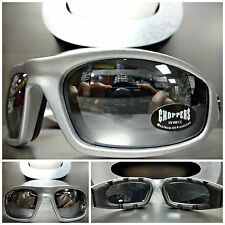Men's or Women MOTORCYCLE BIKER Riding CHOPPERS PADDED SUN GLASSES Chrome Lens