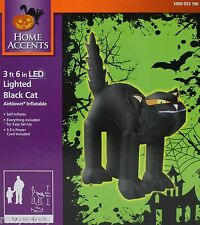 Halloween Home Accents 3 ft 6 inch LED Lighted Black Cat Airblown Inflatable NIB