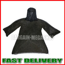 Christmas Presents XXL BLACK FLAT RIVETED LONG SLEEVES CHAIN MAIL SHIRT + COIF N
