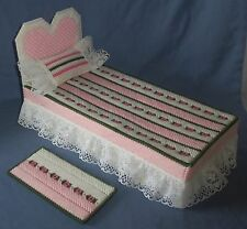 Handmade Barbie Doll House Furniture Bed Rug Pillow Pink White Heart Floral Set