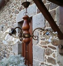 VINTAGE French RUSTIC Ceiling 3 ARM LIGHT WOODEN BRONZE CHANDELIER GLASS SHADES