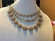 $44.99 Ann Taylor Blush Pink/Gold Three Row Necklace 151 (2)