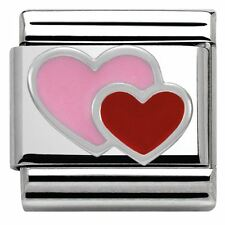 NEW GENUINE NOMINATION CLASSIC SILVER & ENAMEL RED & PINK Double HEART CHARM