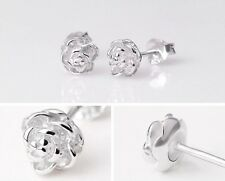 Womens 925 Sterling Silver plated rose flower/petals stud earrings.