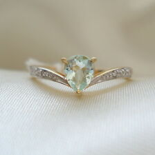 Pastel  Blue Cuprian Tourmaline & Diamond Gold Ring