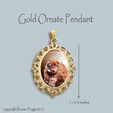CAVALIER KING CHARLES SPANIEL Ruby - ORNATE GOLD PENDANT NECKLACE