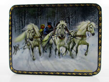 "Lacquer box Fedoskino ""Russian troika"" Winter Dog Horse Decoupage T1"
