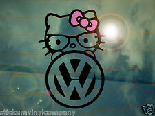 VW Hello Kitty Car Sticker/Decal *Dubs*German*Volkswagen*VAG*Euro*VDUB*Nerd*