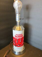 "Vintage table lamp light UW University Wisconsin BADGER P&K Product Red 12.8"" t."