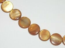 Mother of Pearl (MOP) flat coin 10mm Shell Beads Golden Brown