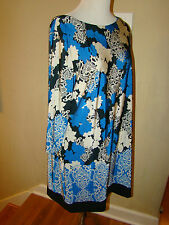 ATMOSPHERE COBALT BLUE BLACK WHITE TRIBAL FLORAL ACCENT WOMENS DRESS SIZE LARGE