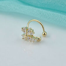 1PC Women Crystal Flower Gold Silver Ear Cuff Stud Earring Wrap Clip On Jewelry