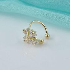 1PC Women Crystal Flower Gold Silver Ear Cuff Stud Earring Wrap Clip On Jewelry