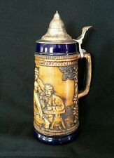 "LARGE Vintage Gerz Lidded Beer Stein 11.5"" Tavern West Germany #802 OCTOBERFEST"