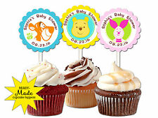 30 ct Winnie the Pooh personalized cupcake toppers baby shower favors decoration
