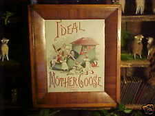 Antique 1800's American OGEE TIGER MAPLE Wooden Frame & Early Mother Goose Litho