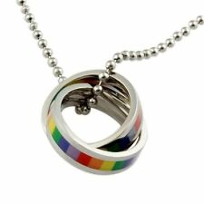 GAY PRIDE RAINBOW RINGS NECKLACE lesbian lgbt wedding marriage flag present gift