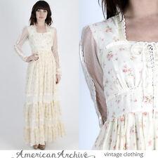Vintage 70s Gunne Sax Dress Boho Wedding Floral Bouquet Lace Hippie Party Maxi M