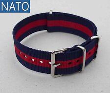 BRACELET MONTRE NATO 22mm (bleu navy / rouge) montre de plongée montre ancienne