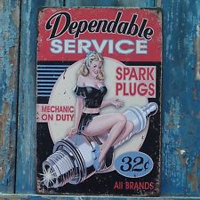 Dependable SERVICE Retro Metal Tin Signs Art Wall Poster Garage Decor